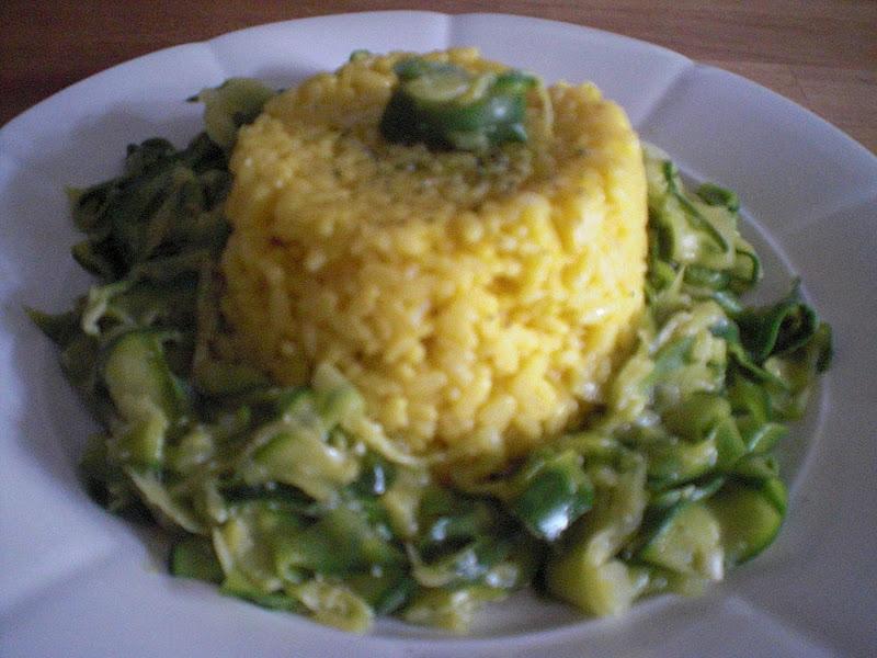 timballo di riso giallo con zucchine