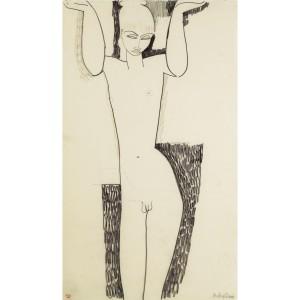 Cariatide, Modigliani, disegno