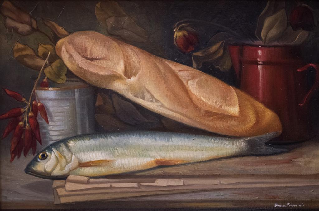 Enrico Fornaini, Natura morta con pane e salacchino, 2015, olio su tela