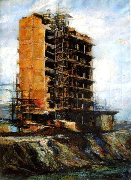 Renzo Vespignani, Palazzo in costruzione, 1957, olio su tela, collezione privata