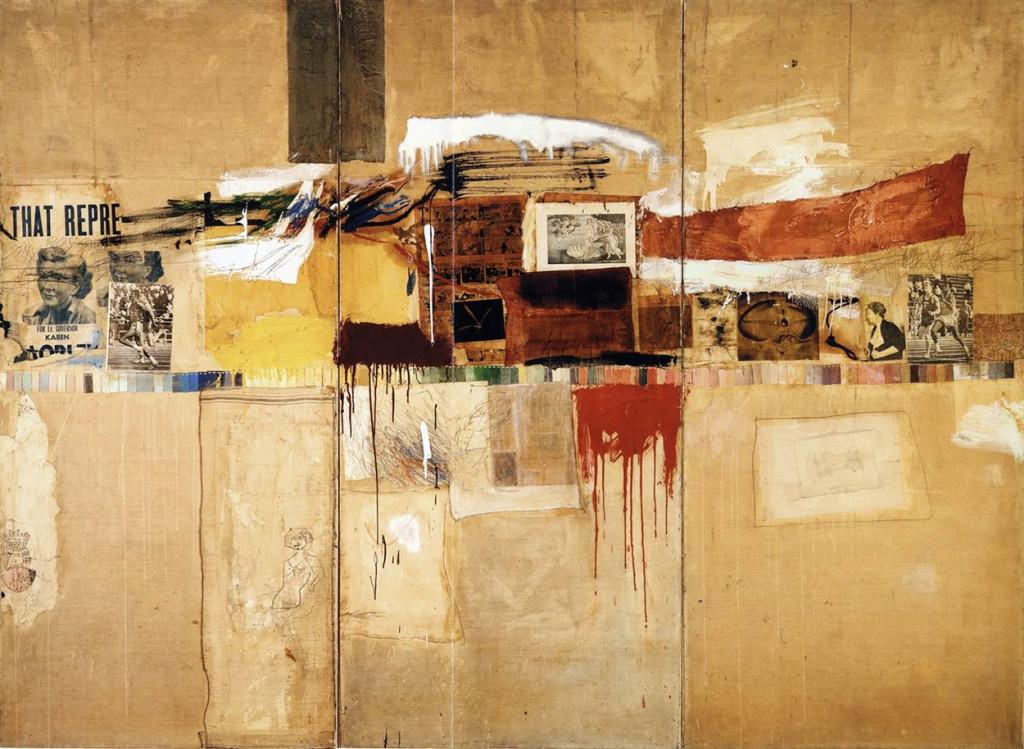 Robert Rauschenberg, Rebus, 1955, Combine painting, mix di media su pannelli di legno