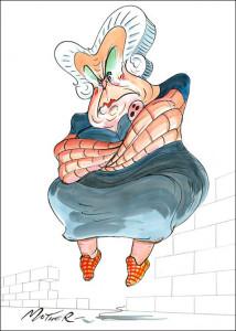 La madre di Pink disegnata da Scarfe: imponente con le braccia a forma di muro