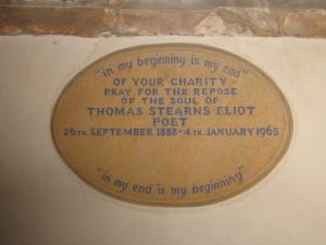East Coker church - Eliot plaque