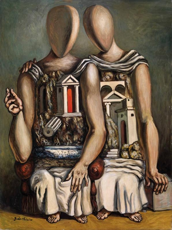 Giorgio de Chirico, Gli Archeologi, 1961,olio su tela,80x60, Collezione Merini, Busto Arsizio