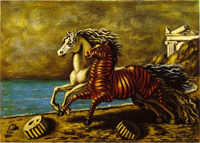 Giorgio de Chirico, Cavallo e Zebra,1929-30, olio su tela,50x70, Collezione privata.