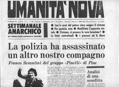 Notizia della morte di Franci Serantini data da Umanità Nova