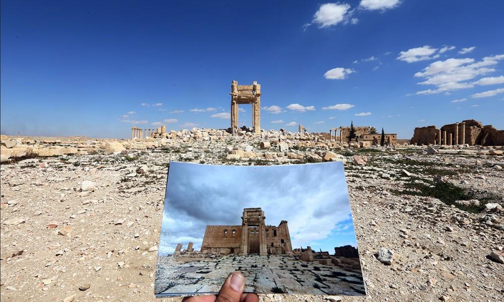 Palmira, il tempio di Bel prima e dopo la guerra. Fonte: Panorama.it