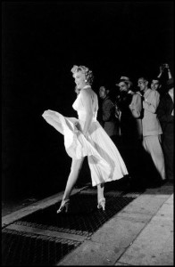 "USA. New York. 1954. Marilyn MONROE during the filming of ""The Seven Year Itch""."