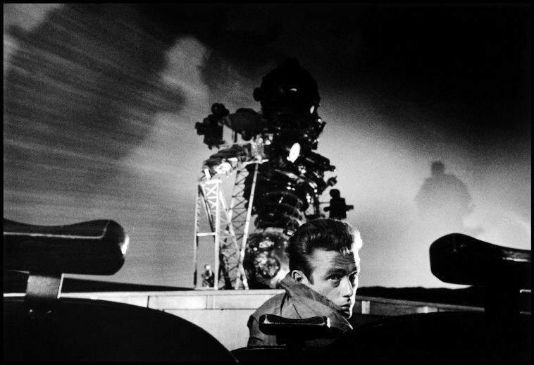 """USA. California. 1955. James DEAN during the filming of """"Rebel Without a Cause,"""" inside the planetarium."""