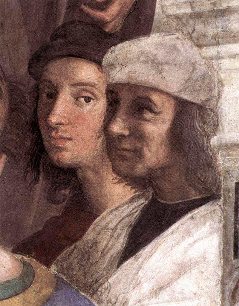 Raffaello, Particolare autoritratto nella Scuola di Atene