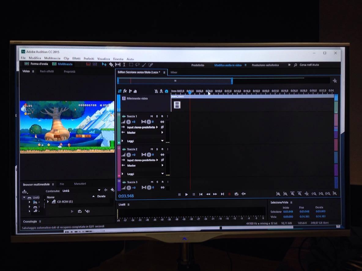 Schermata di Adobe Audition durante la modifica di un video